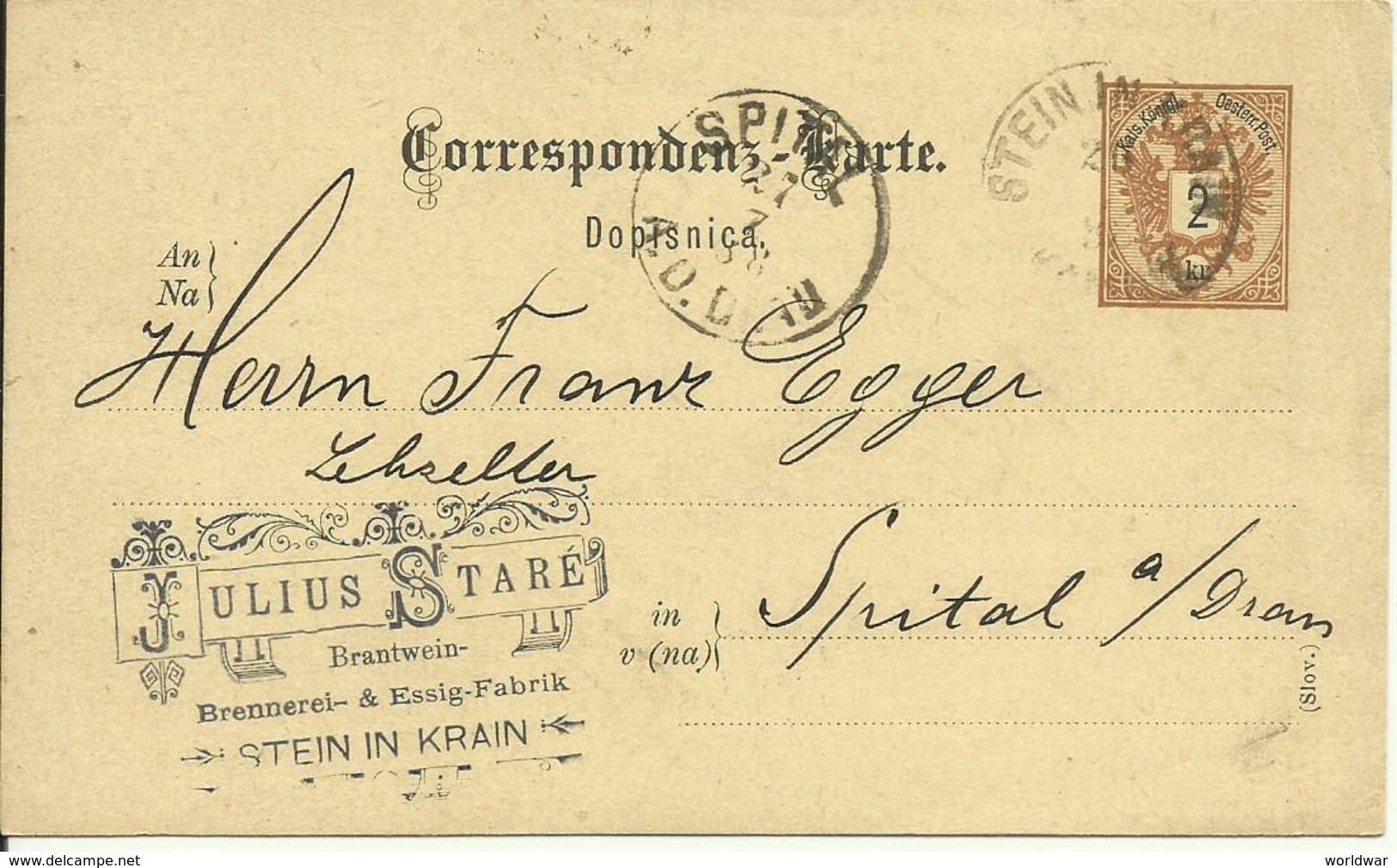 1888 Correspondenz-Karte (Slov)  Von Stein In Krain (Kamnik, Slovenia) Nach Spital - Entiers Postaux