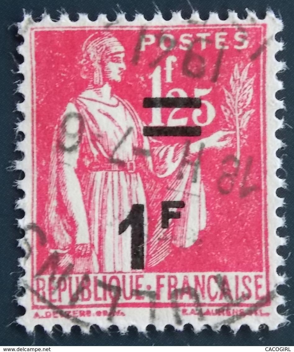 1941 France Yt:FR 483, Mi:FR 485 Type Paix Surcharge 1F/1,25 - Oblitération TULLINS - France