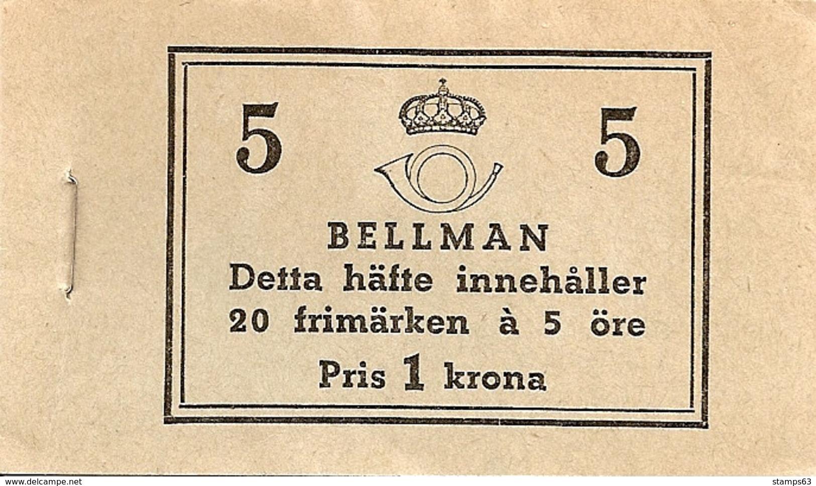 SWEDEN, 1940, Booklet 43A (Facit), Mi 277, Bellman, Song-writer - Boekjes