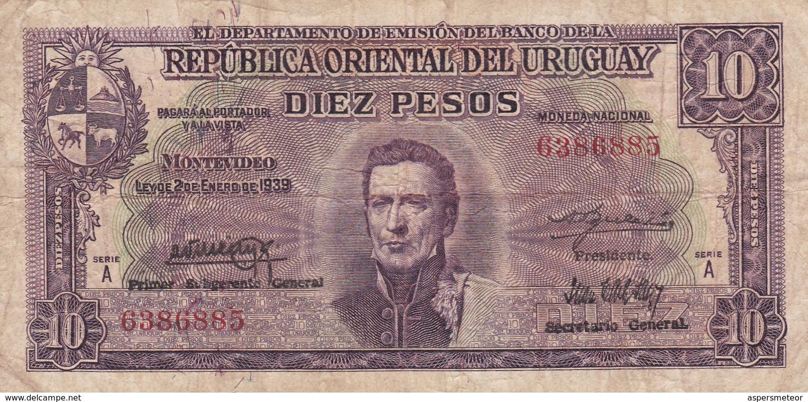 DIEZ PESOS SERIE A URUGUAY CIRCA 1940s-BILLETE BANKNOTE BILLET-BLEUP - Uruguay