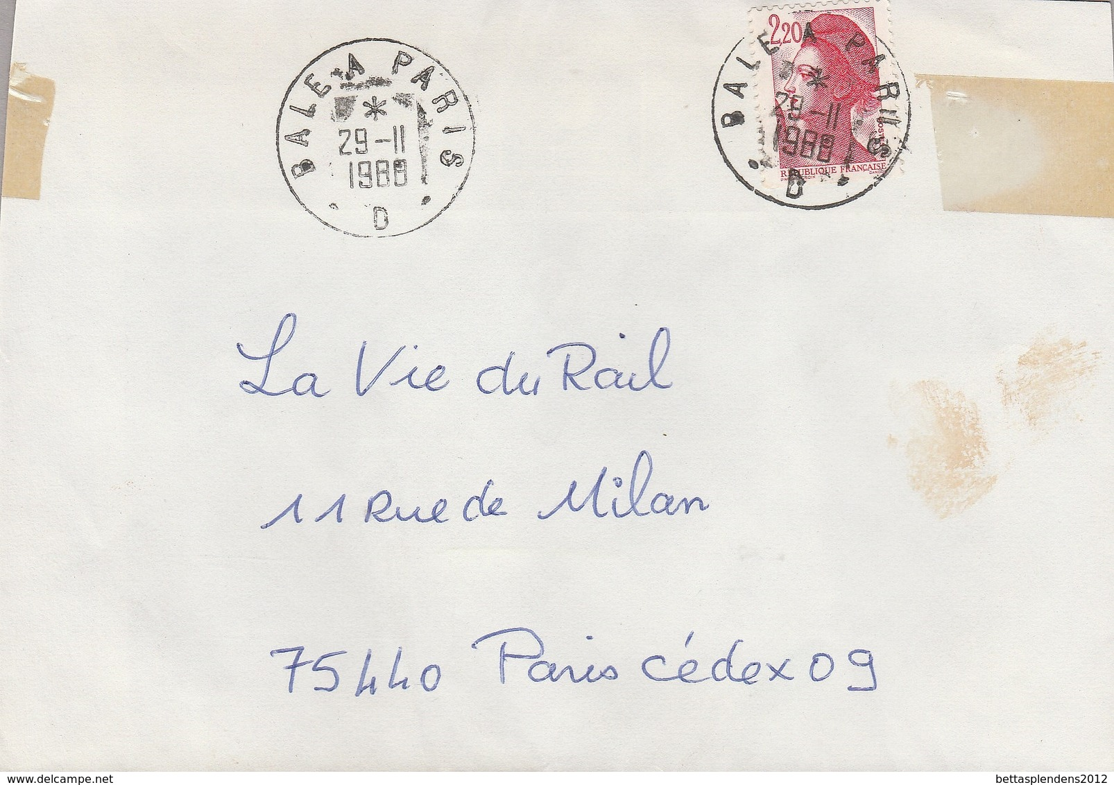 LSC 1988 - Cachet  BALE  A  PARIS  D - Poste Ferroviaire