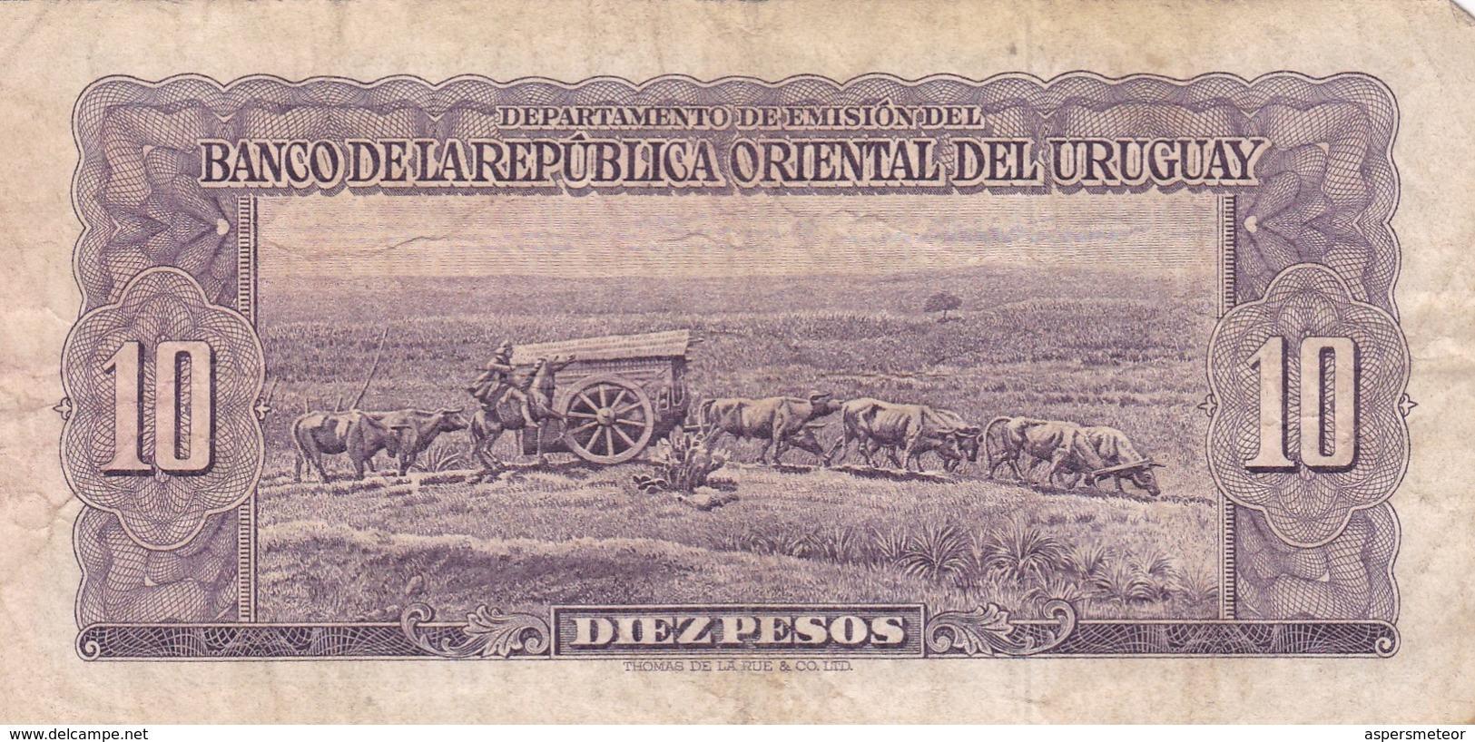 DIEZ PESOS SERIE D, URUGUAY. CIRCA 1940s-BILLETE BANKNOTE BILLET-BLEUP - Uruguay