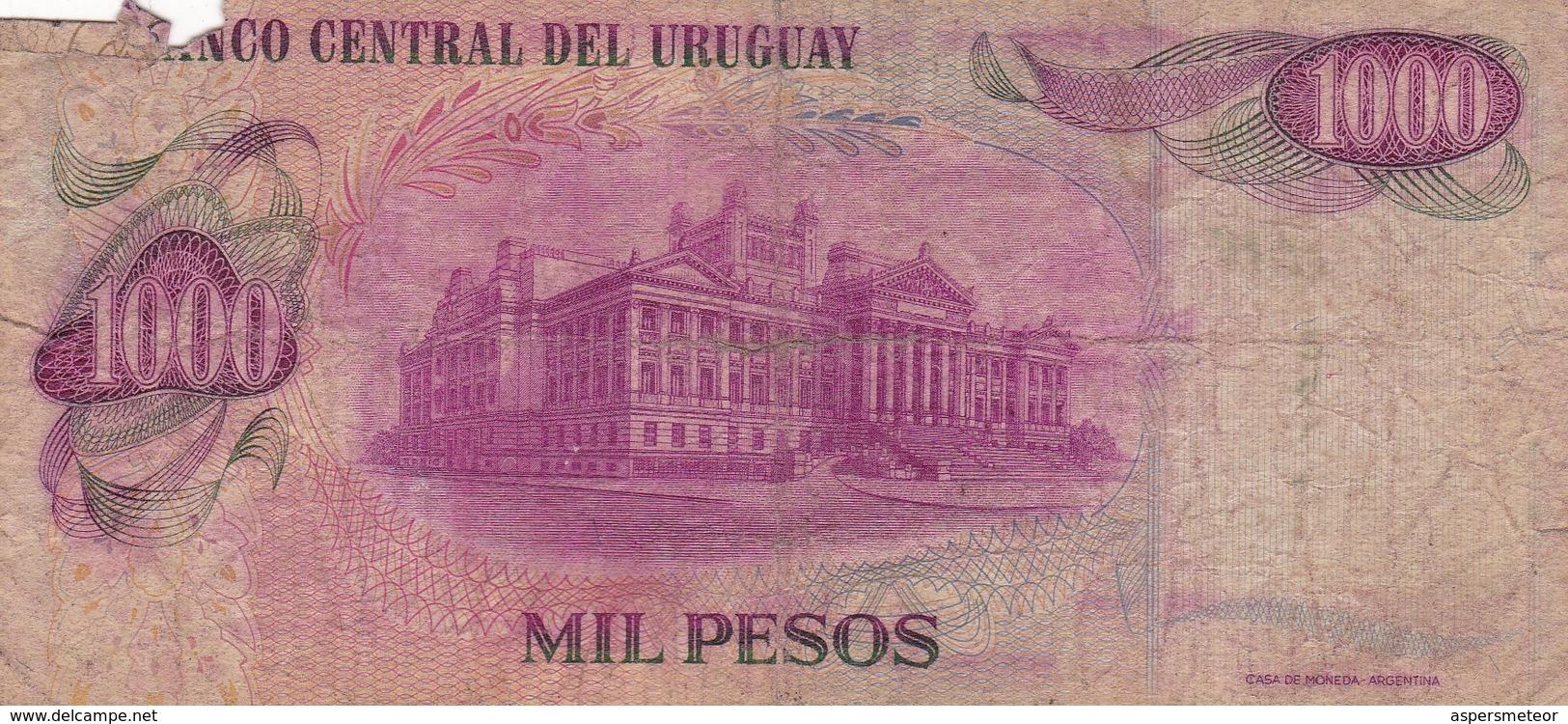 MIL PESOS, SERIE A ARTIGAS. URUGUAY. CIRCA 1970s-BILLETE BANKNOTE BILLET-BLEUP - Uruguay
