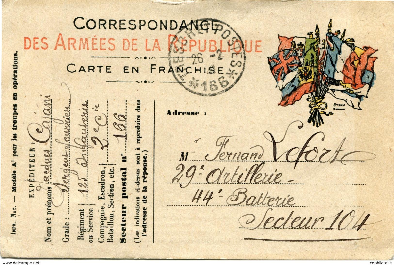 FRANCE CARTE DE FRANCHISE MILITAIRE DEPART TRESOR ET POSTES 26-2-16 * 166 * POUR LA FRANCE - Marcophilie (Lettres)