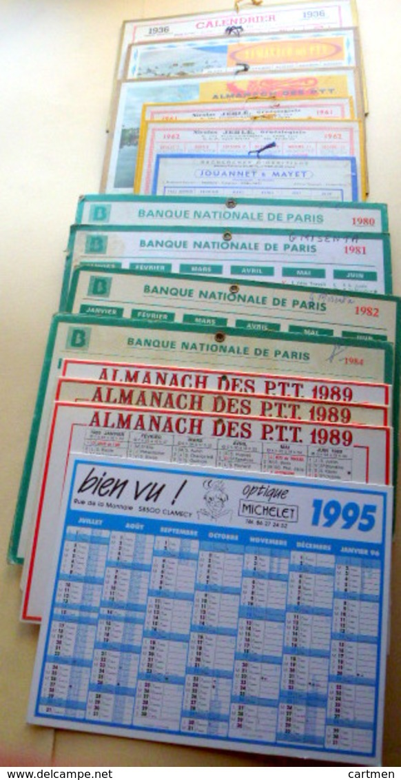 CALENDRIER  LOT DE 15 CALENDRIERS FORMAT   15 X12   17 X12   22 X16 Cm   ANNEES 1960 / 1980 - Calendriers