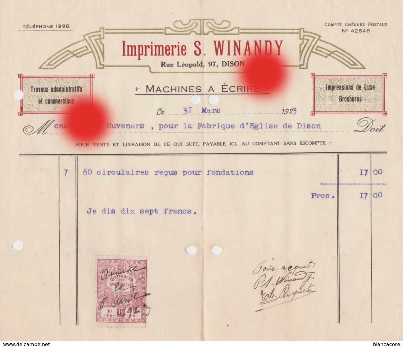 DISON 1923 Imprimerie WINANDY  Rue Léopold - Printing & Stationeries