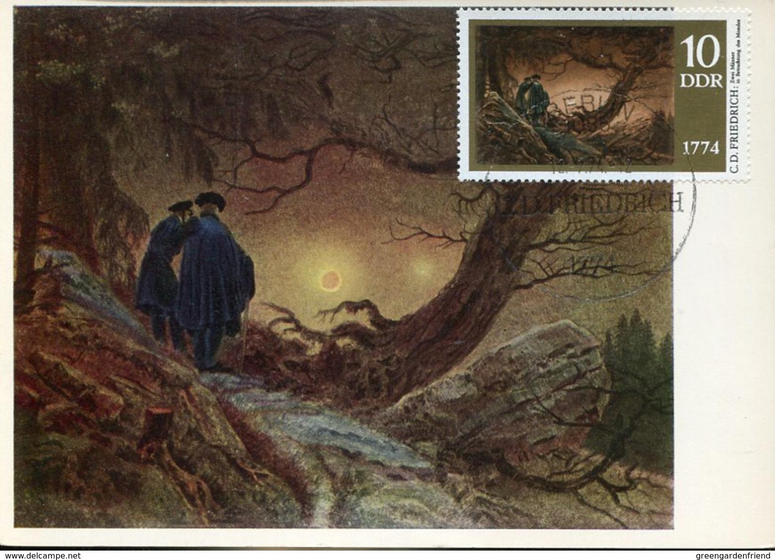 39933 Germany Ddr,maximum 1979, Painting Of Caspar David  Mi-1958, 2 Men Looking At The Moon,2 Hommes Regardant La Lune - Maximum Cards