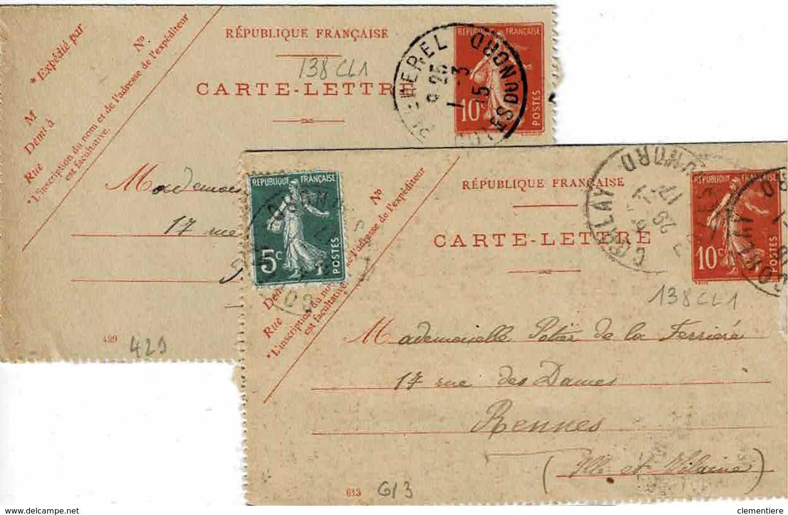 2 Cartes 138 CL 1 , Dates 613 Et 429, 111 X 70 Mm,de Bêcherel Et Corlay Pour Rennes - Kaartbrieven