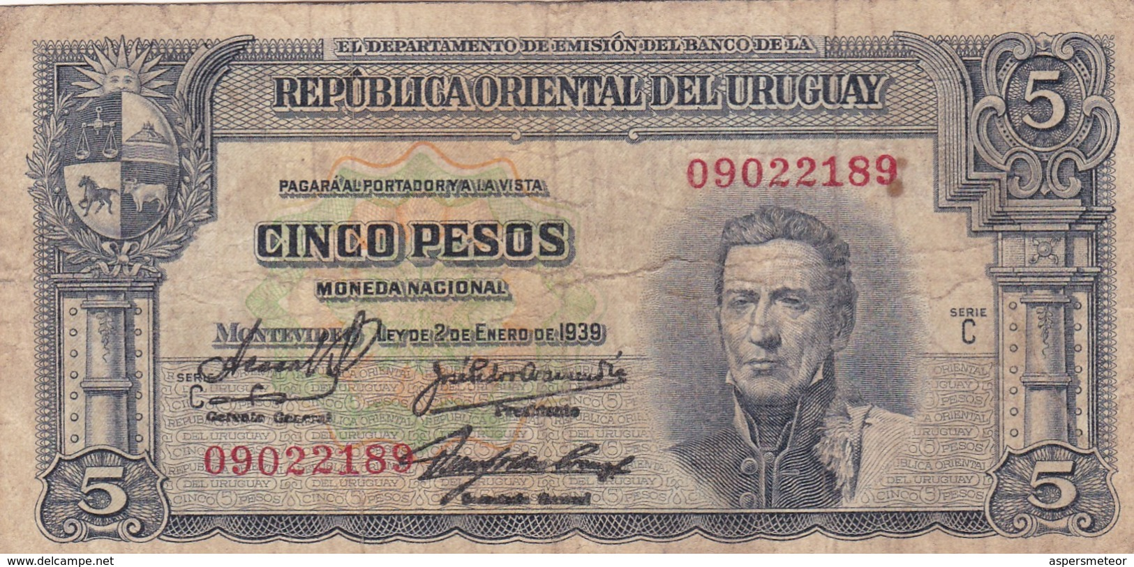 CINCO PESOS. URUGUAY. CIRCA 1940s-BILLETE BANKNOTE BILLET NOTA-BLEUP - Uruguay