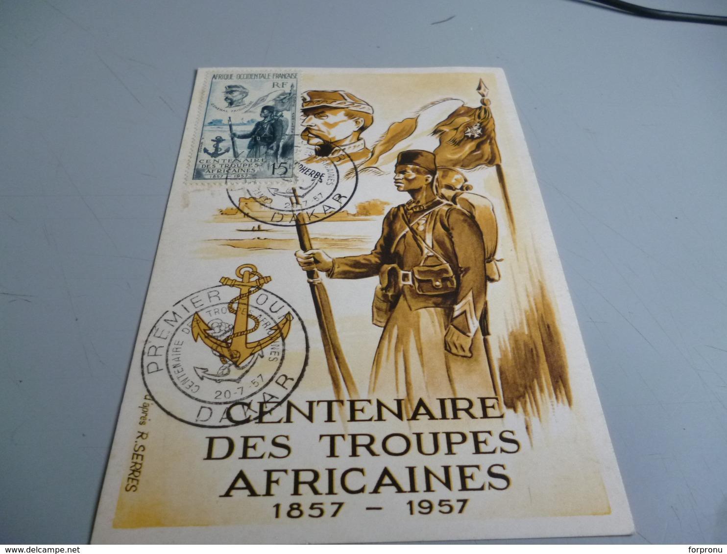 CARTE POSTALE MAXIMUM CENTENAIRE DES TROUPES AFRICAINESZ 1857/1957 - France