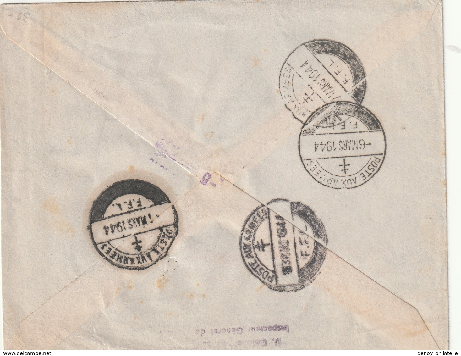 Lettre De La Force Francaise Libre En Franchise Pour Alger Avec 2 Cachets De Censure Un Francais Et Englais RRR - Postmark Collection (Covers)