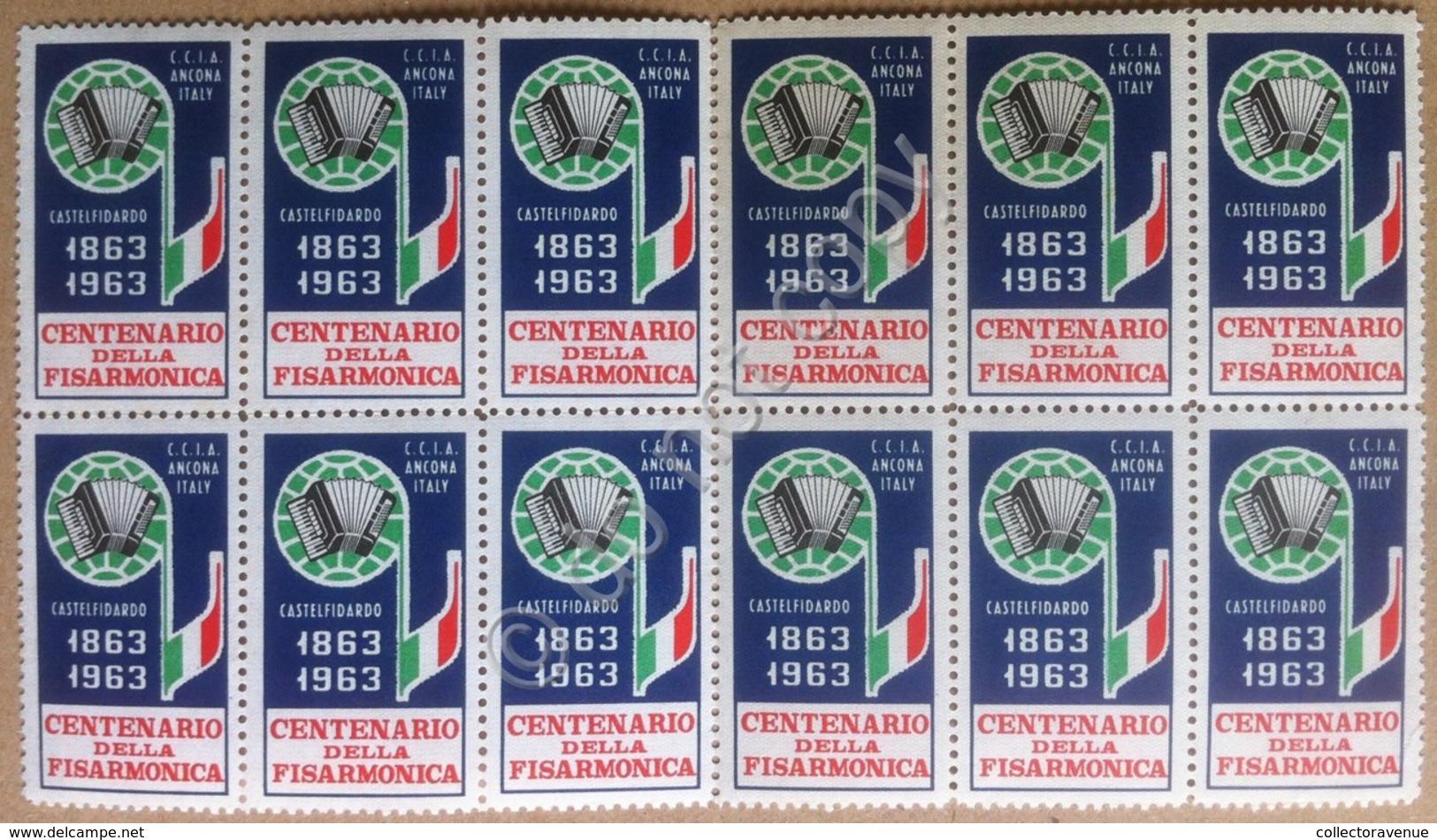 Erinnofilia Italia 1963 - Centenario Della Fisarmonica - 12 Chiudilettera MNH** - Italie