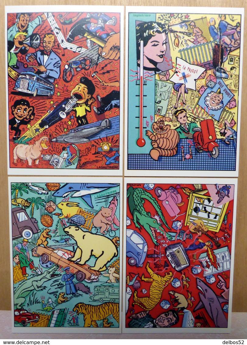LAGAUTRIERE    : Lot De 4 Cartes Postales - 1984 - Bandes Dessinées