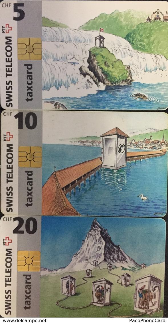 Paco \ SVIZZERA \ SUI-CP 04A 05A 06A \ Puzzle Tris - Rhine Falls.. - Chapel Bridge Lucerne - Matterhorn, Zermatt \ Usate - Svizzera