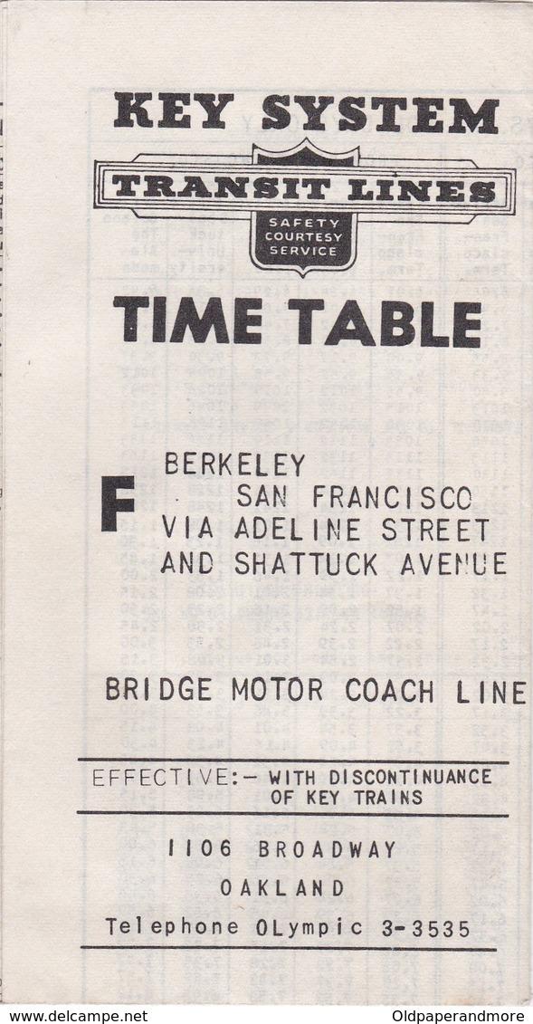 UNITED STATES - SAN FRANCISCO - KEY SYSTEM - TRANSIT LINES - TIME TABLE - World