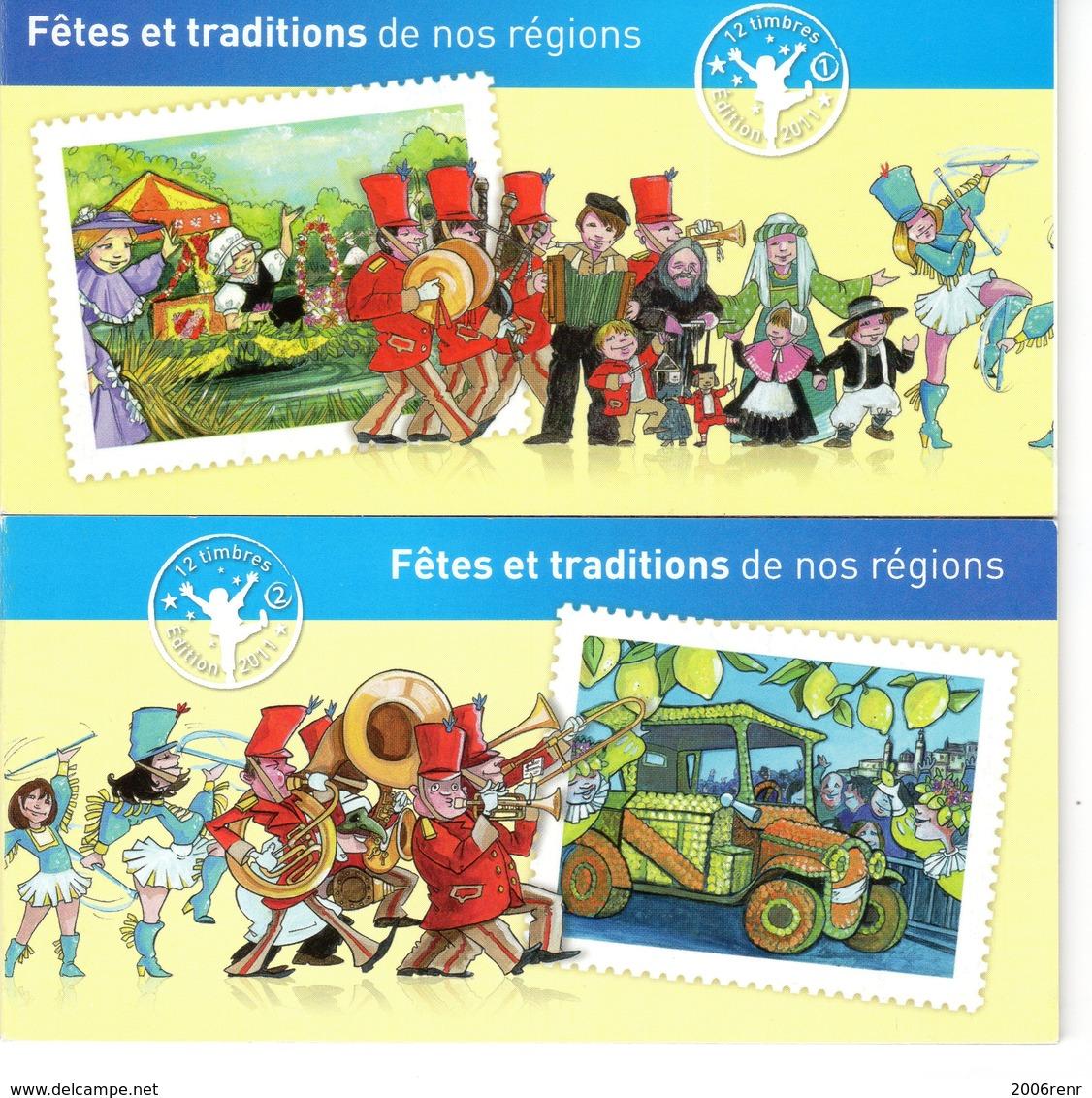 CARNETS (2) FÊTES ET TRADITIONS DE NOS REGIONS. 2011 VOIR DESCRIPTION ET SCANS RECTO/VERSO - Markenheftchen