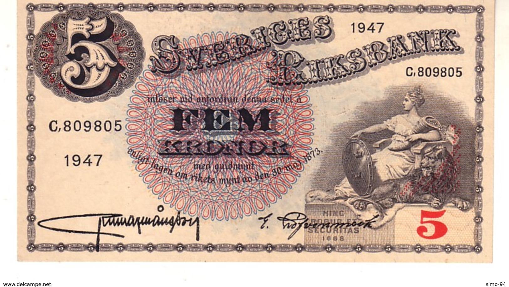 Sweden P.33 5 Kronor 1947  Unc - Suède
