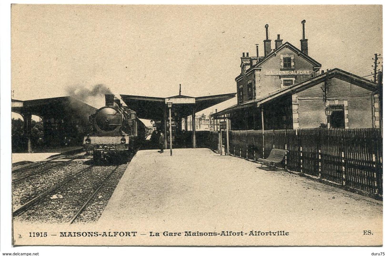 MAISONS ALFORT  La GARE Maisons Alfort Alfortville ( Train Locomotive Vapeur ) Collection E.S. - Maisons Alfort