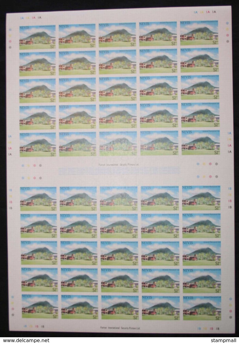 Nevis 1985 Tourism IMPERFORATE Sheets, $1.20 X4, Ex Format International Liquidation Sale, Late 1980s. MUH Lot30467 - St.Kitts And Nevis ( 1983-...)