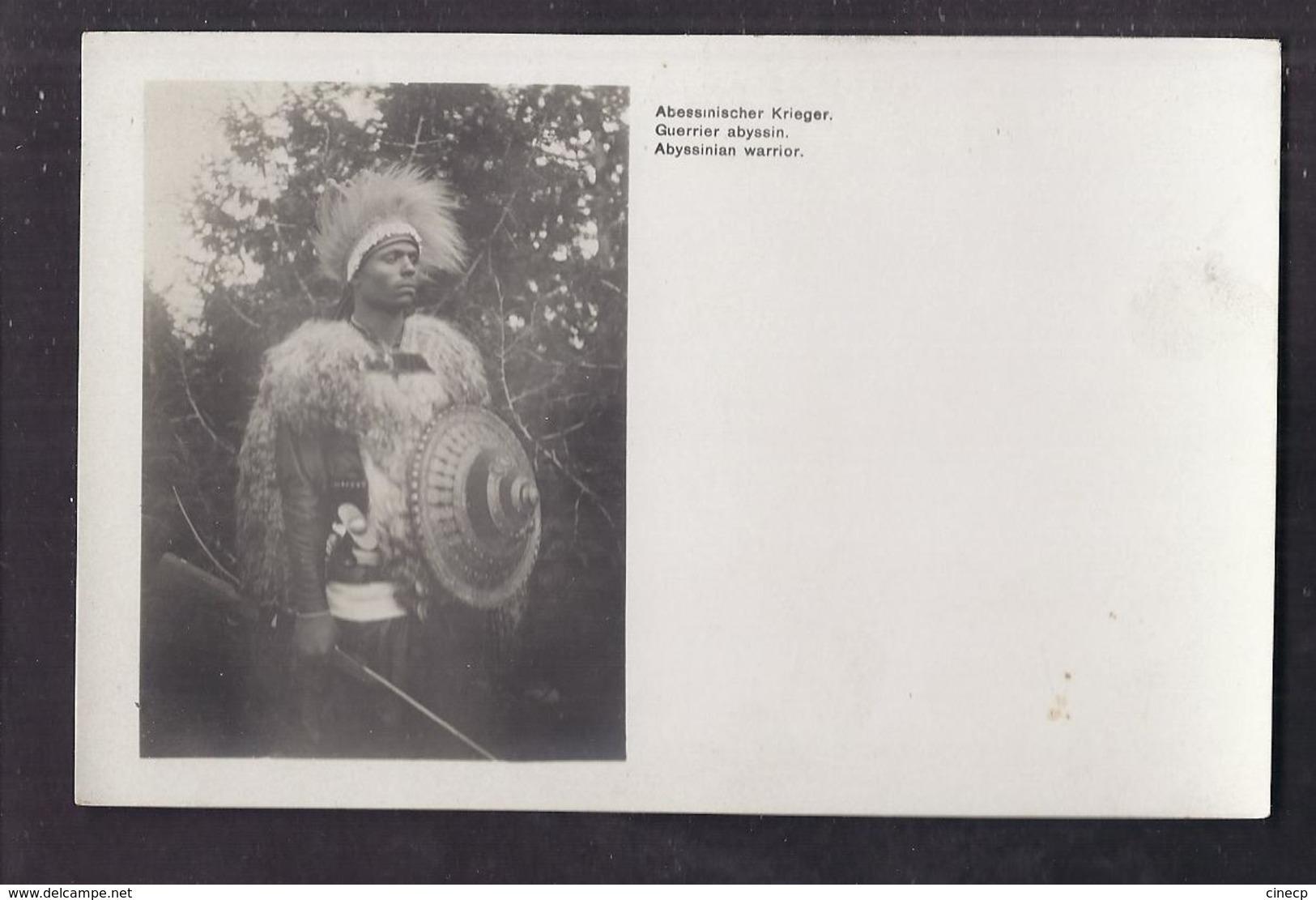 CPA ETHIOPIE - ABYSSINIE - Abyssinie : Guerrier Abyssin - TB PLAN Homme En Costume Et Arme - Libellé Allemand Anglais - Etiopia