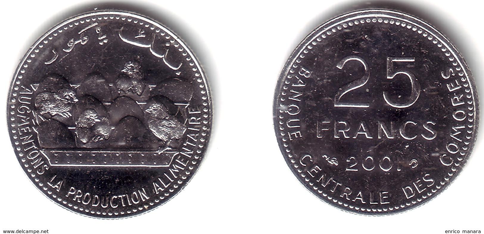COMOROS, Islamic Republic - 25 Francs 2001 F.A.O. CHICKENS - KM#14a BU - Comorre