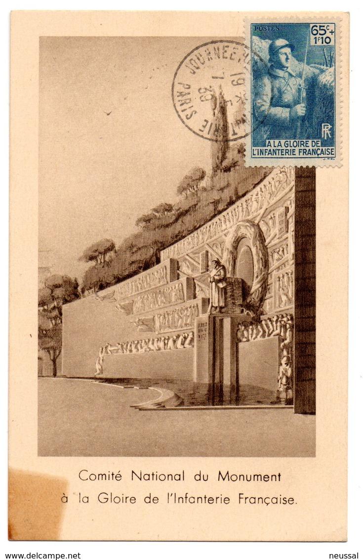Tarjeta Maxima De Gloire De Lìnfanterie. 1939 Circulada - Cartas Máxima