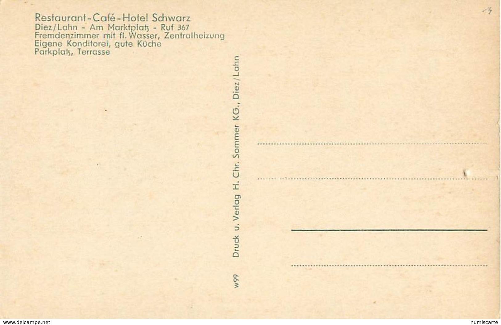Cpsm Multivues DIEZ AN DER LAHN - Restaurant Café Hotel SCHWARTZ - Diez