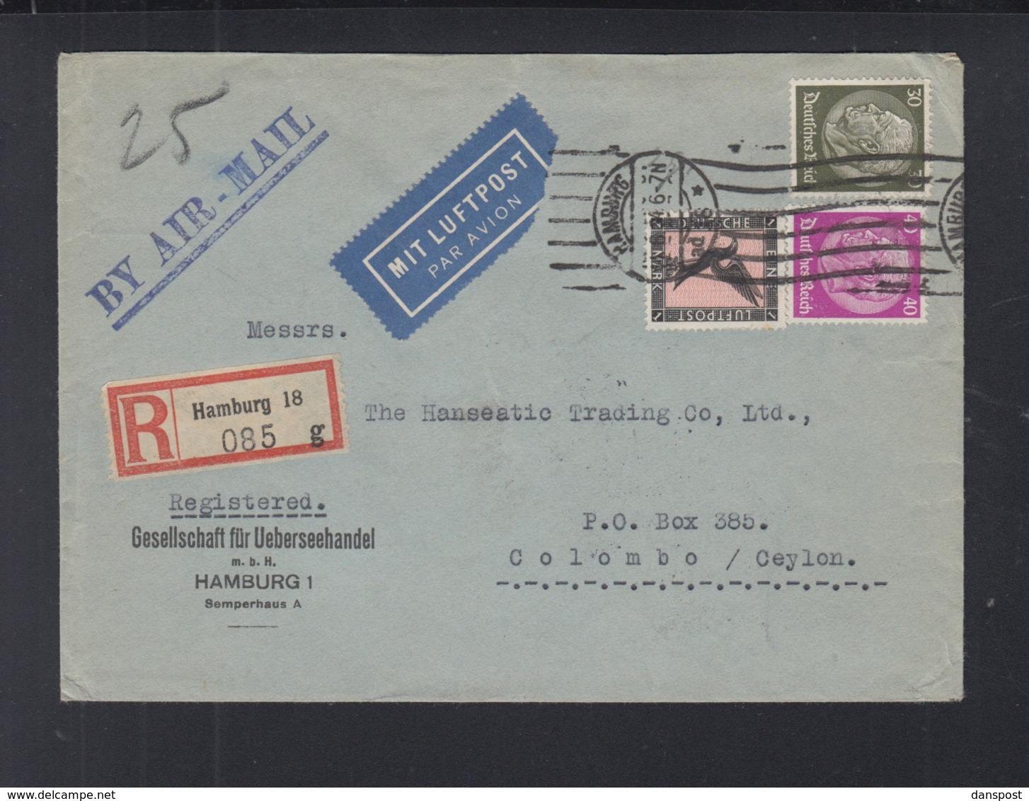 Dt. Reich Luftpostbrief 1934 Hamburg Nach Ceylon - Briefe U. Dokumente