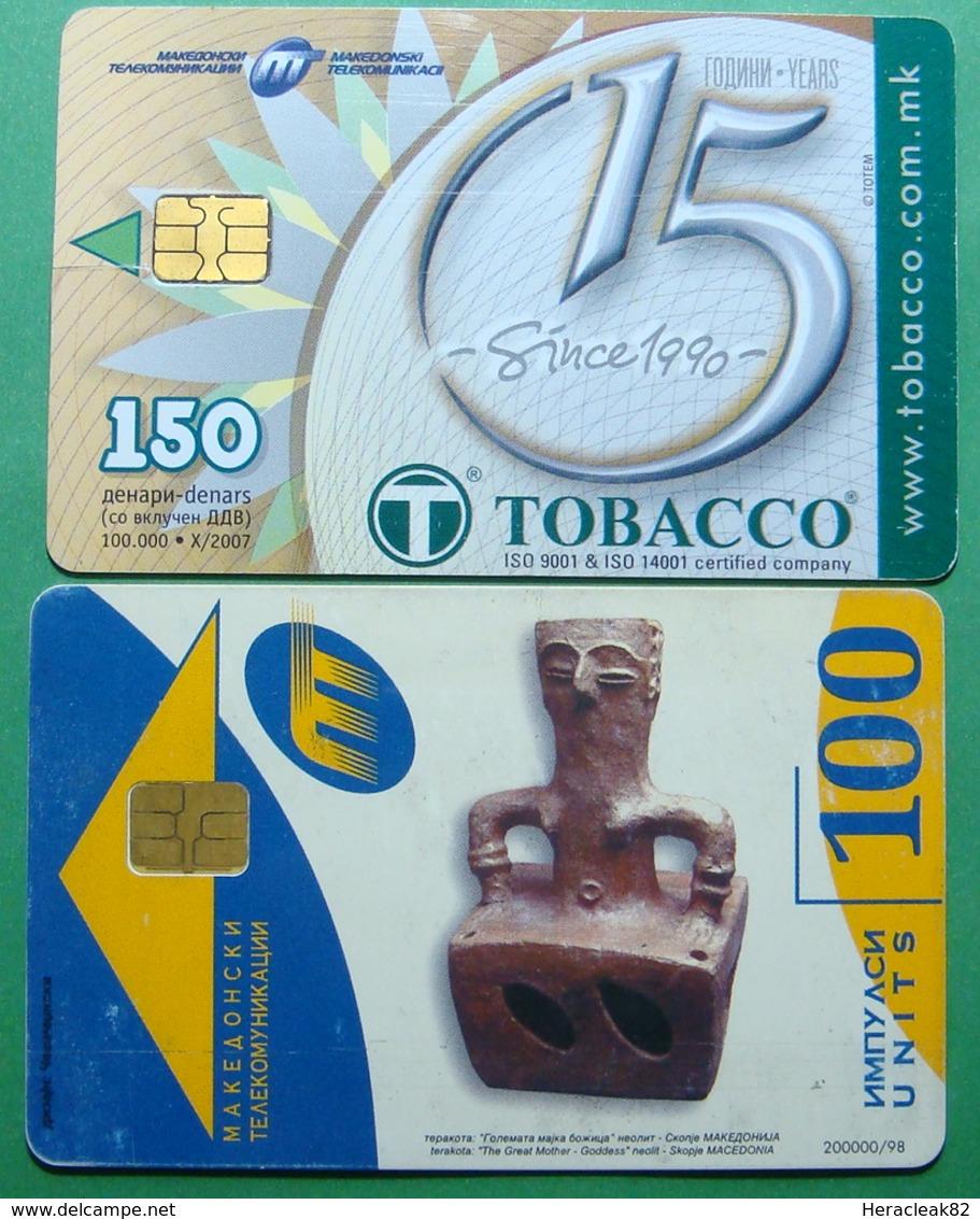 Macedonia Lot Of 2 CHIP PHONE CARDS USED, Operator: MT, 100 & 150 Units *ARCHEOLOGY, TOBBACO*, 1998, 2007 - Macedonië