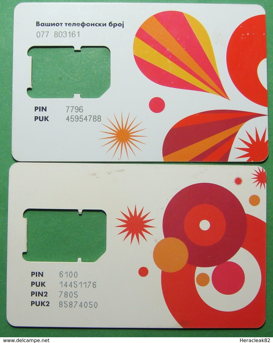 Macedonia Lot Of 2 GSM CHIP PREPAID CARDS USED, Operator: VIP, ND, - Macedonië