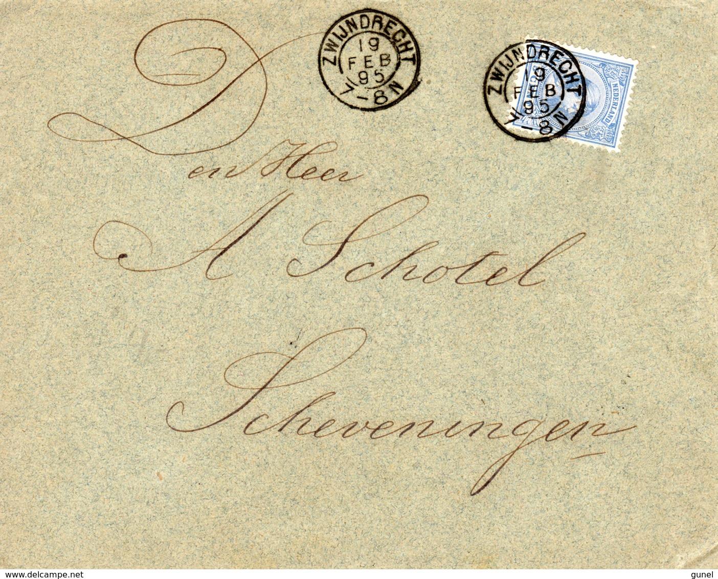 19 FEB 1895  Envelop Met NVPH35 Met Kleinrond ZWIJNDRECHT Naar Scheveningen - Periode 1891-1948 (Wilhelmina)