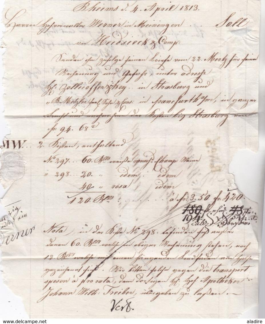 1813 - Règne De Napoléon 1er - Lac De 2 Pages De Reims (marque) Vers Meiningen, Saxe, Allemagne - R N°3 - Marcofilia (sobres)