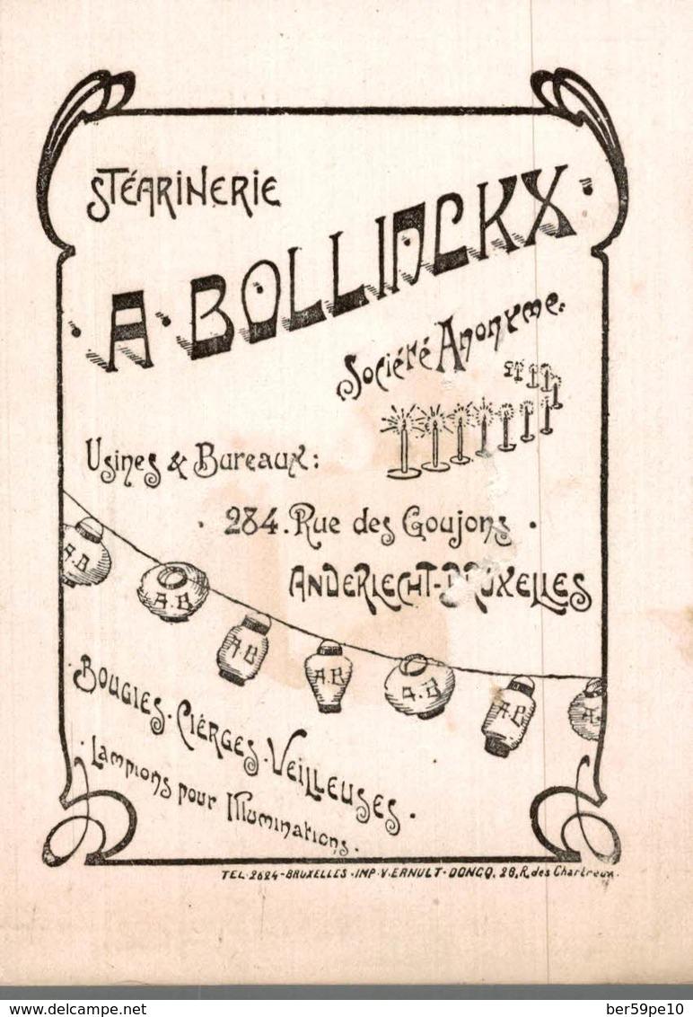 CHROMO  BOUGIES BOLLINCKX MARQUE LE LION ANDERLECHT-BRUXELLES  ANVERS STATUE DE RUBENS - Chromos