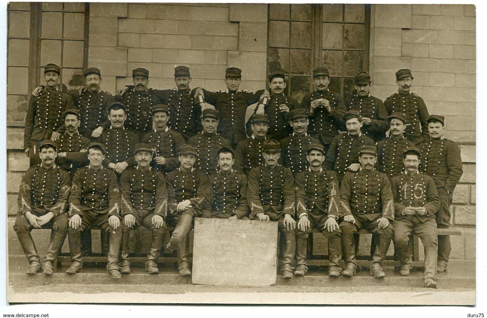 Photo Carte 1910 Groupe Soldats 23e Dragons Honneur Aux Réservistes 1er 2e 3e 4e Escadron ( Foucher ) 11 Janvier 1910 - Régiments
