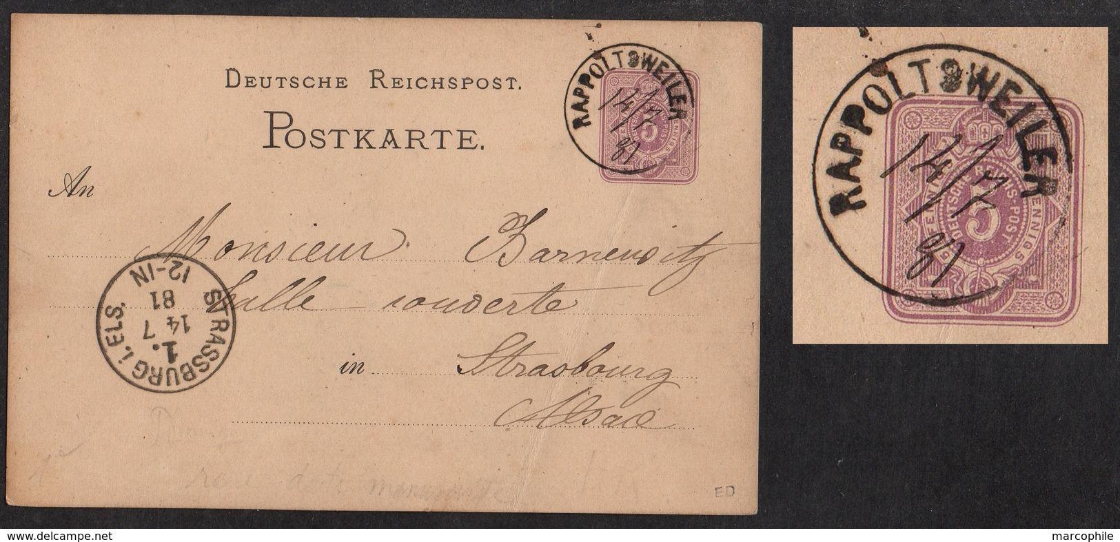 RAPPOLTSWEILER - RIBEAUVILLE - ALSACE / 14-7-1881 DATEUR MANUSCRIT - 1ère DATE CONNUE SUR ENTIER (ref 2079) - Elsass-Lothringen