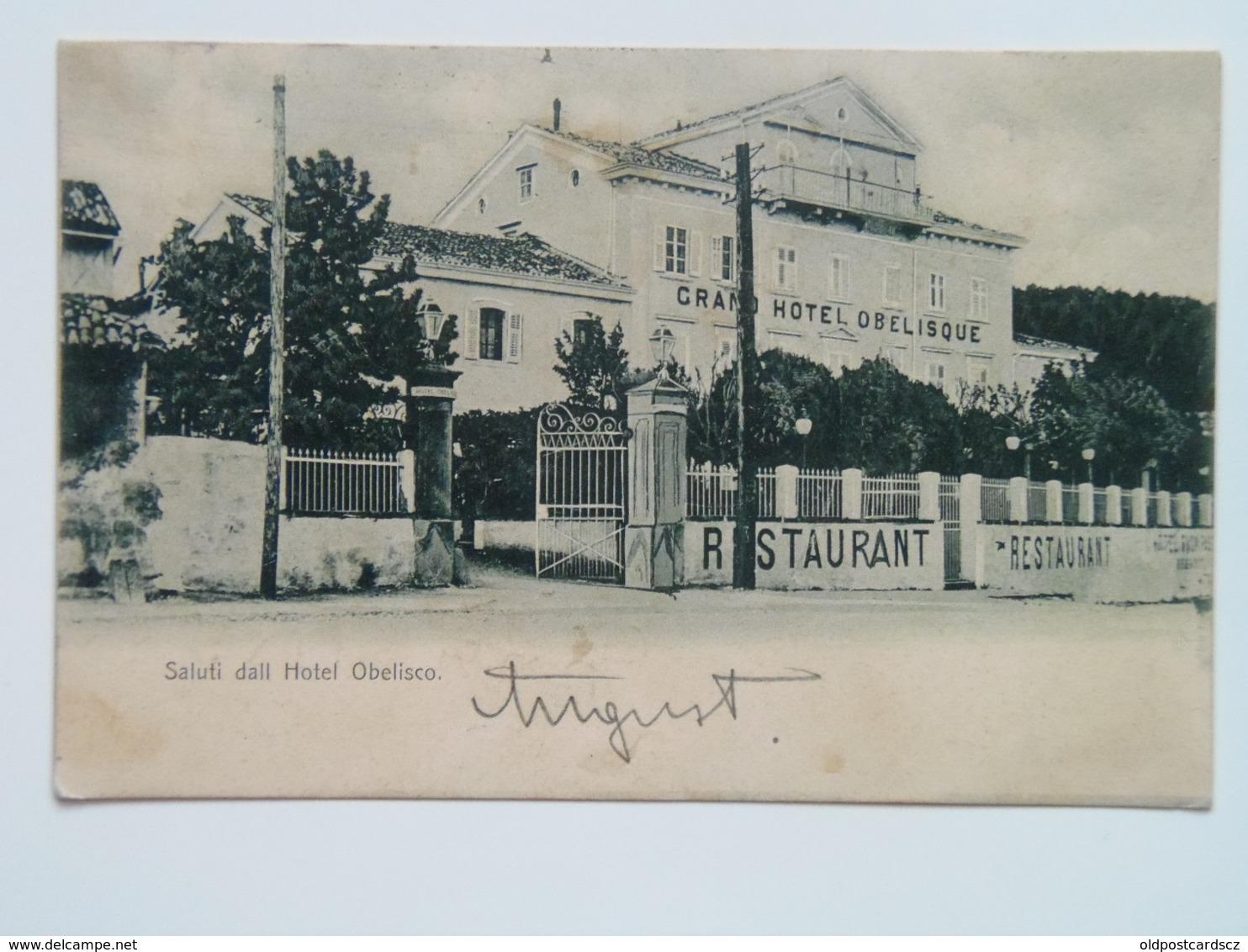 Trieste 343 Opcina Opicina Auto 1900 Albergo Hotel Grand Obeliscque Obelisco Restauranr - Italie