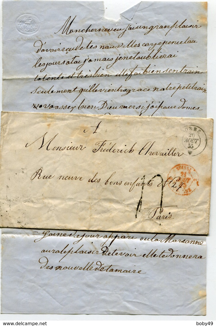 SUISSE De ORBE LAC Pour PARIS Du 20/08/1855 Entrée SUISSE 2 JOUGNE 2 Et Taxe De 4 - Storia Postale