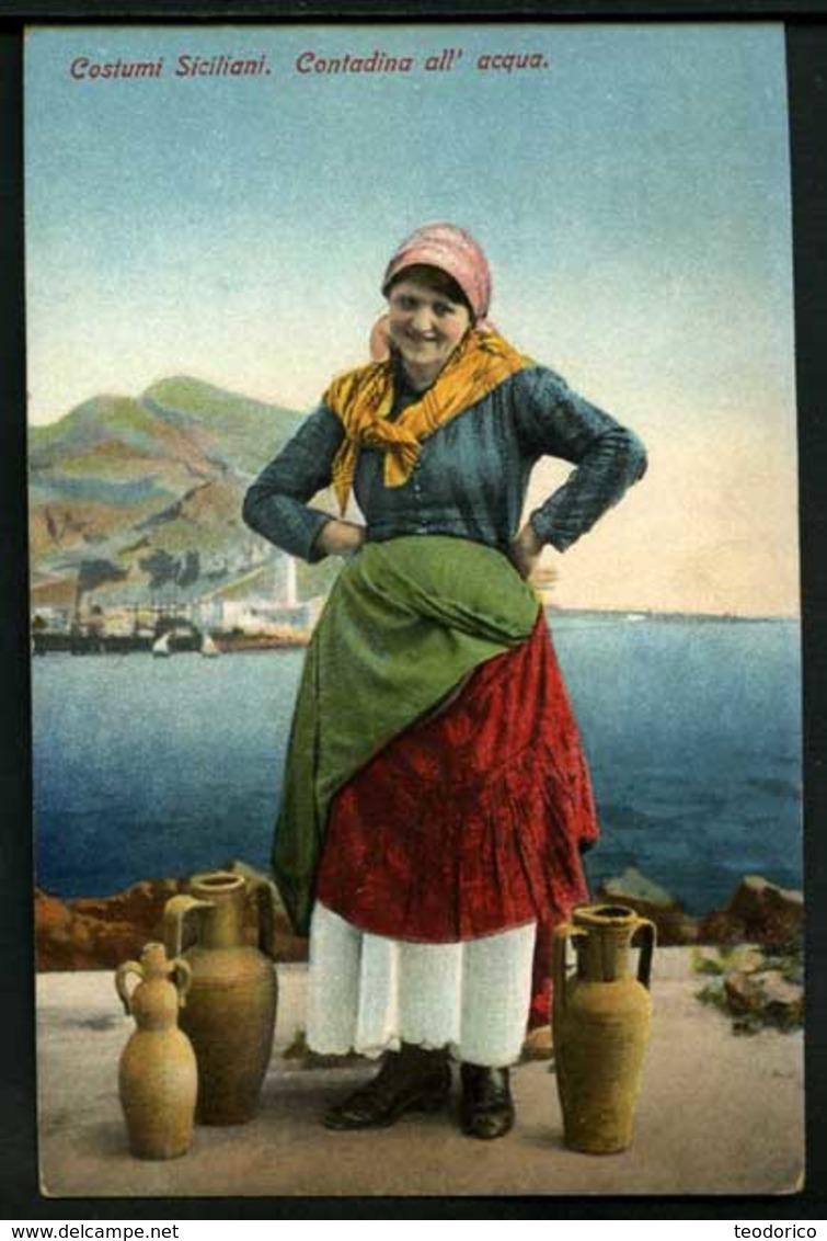 Costumi Siciliani - Contadina All'acqua - Non Viaggiata - Rif. 03647 - Otras Ciudades
