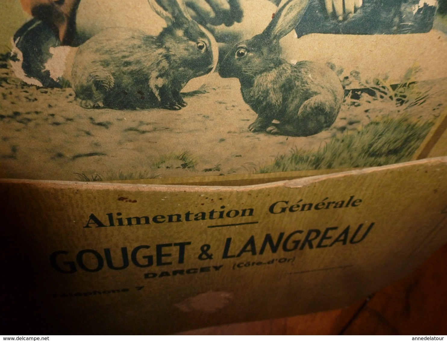 Ancien Carton Vide-poche Publicitaire Alimentation Générale GOUGET & LANGREAU à Darcey (Côte D'Or)  Scène Enfantine - Placas De Cartón