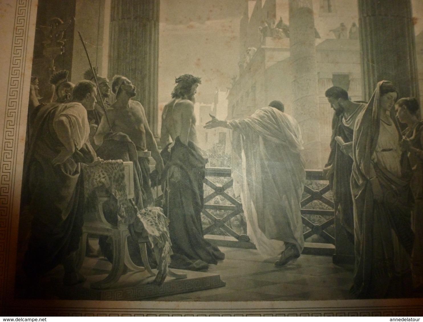 Ancien Carton Publicitaire Offert Par CHOCOLATERIE D' AIGUEBELLE (Drôme) :ECCE HOMO Par Ant. Ciseri,Galerie Nle à Rome - Placas De Cartón