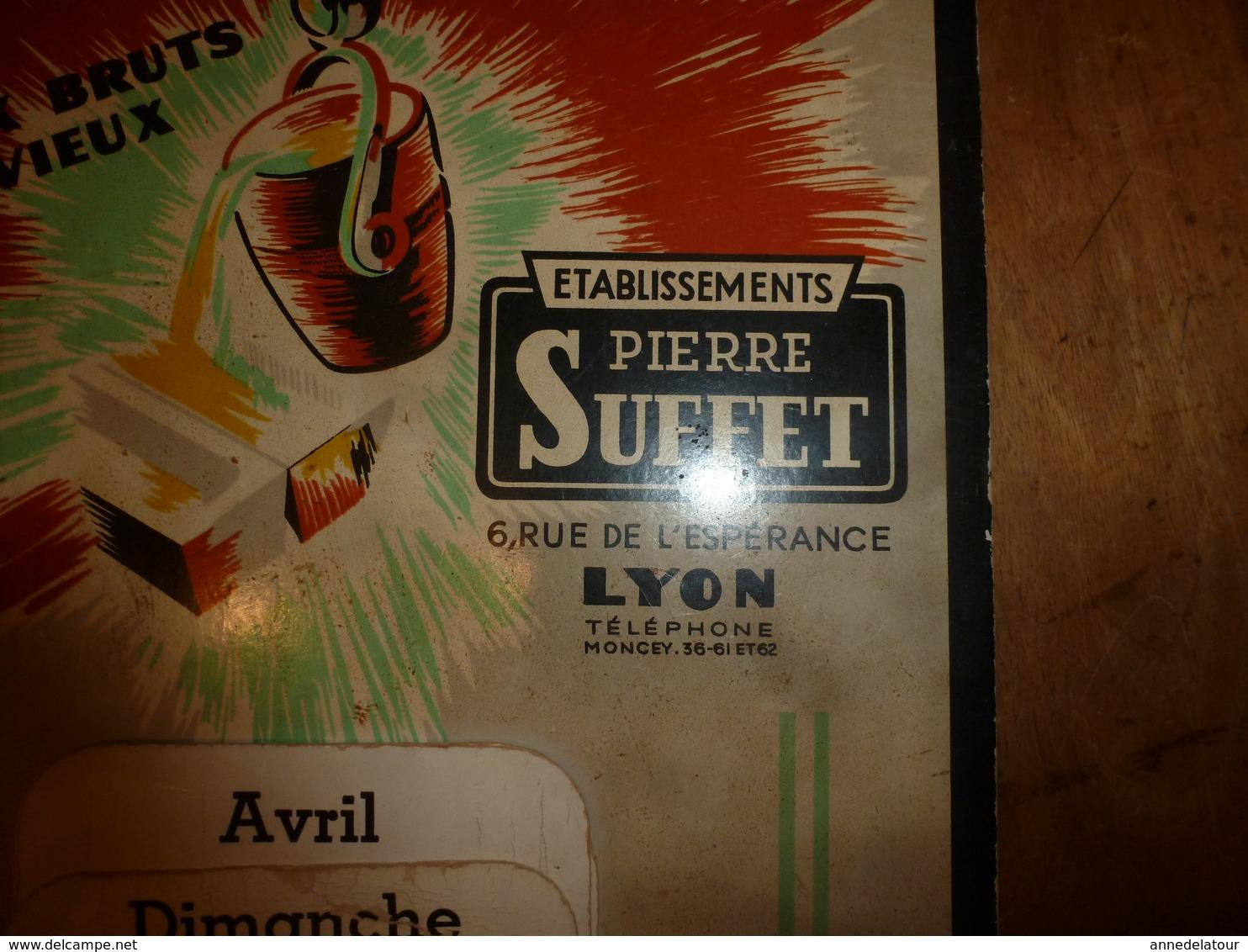 Anc. Carton Publicitaire Avec Calendrier Perpétuel Etablissements PIERRE SUFFLET à Lyon ---Métaux Bruts Et Vieux, Etc - Plaques En Carton