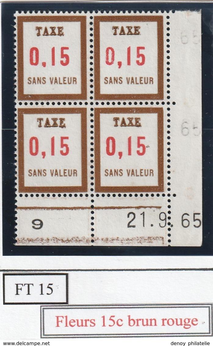 France Fictif Coin Daté Timbre Taxe Reférence Yvert Ft 15  Du21 9 65  Luxe - Altri
