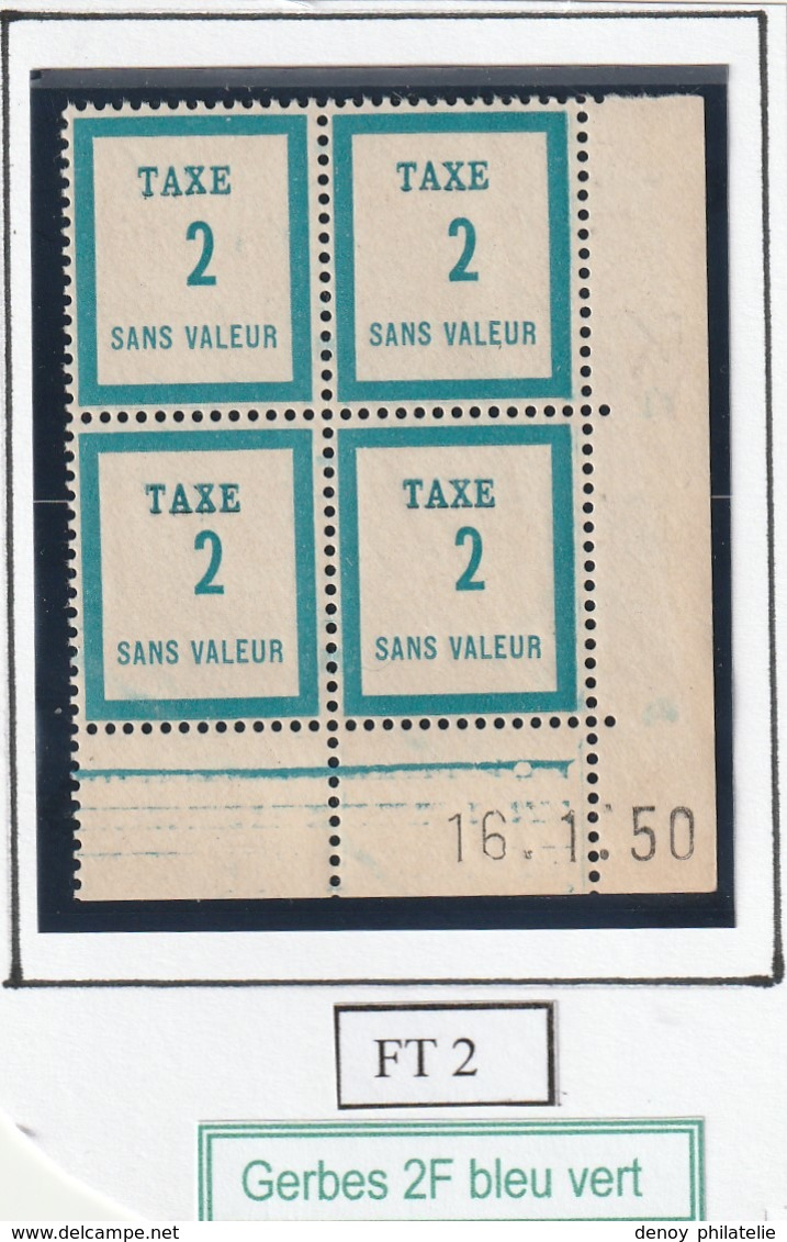 France Fictif Coin Daté Timbre Taxe Reférence Yvert Ft 2 Du 16 1 1950 - Altri