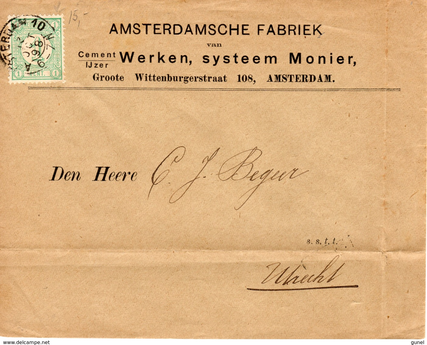12 OCT 98 Drukwerk Met Firmalogo Met Kleinrond AMSTERDAM 10 Op NVPH31 Naar Utrecht - Periode 1891-1948 (Wilhelmina)