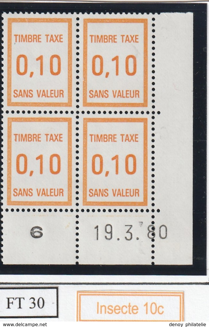 France Fictif Coin Daté Timbre Taxe Reférence Yvert Ft 30 Du 19 03 1980 - Altri