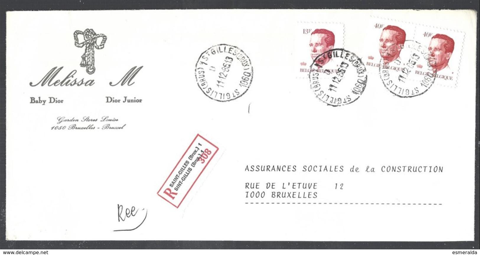 Cob  2136 X 2 + 2203 Type Velghe Sur Lettre Recommandé Saint-Gilles (Brux.) 1 - 1981-1990 Velghe