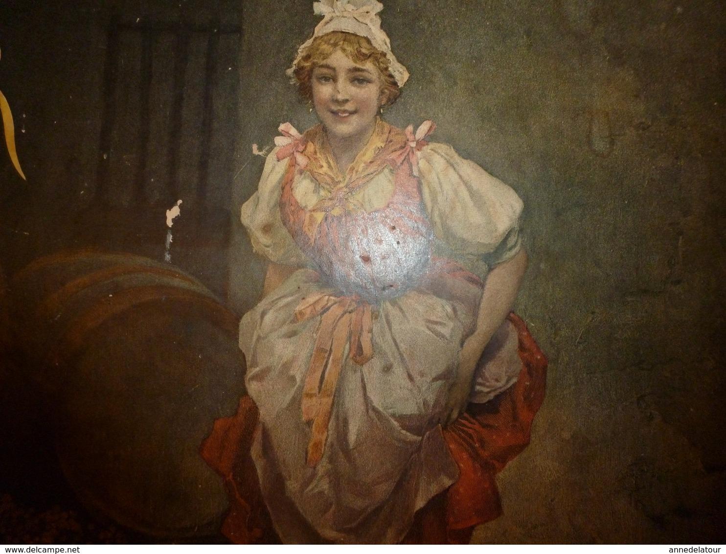 1895 Rare Plaque Publicitaire Du FIGARO ILLUSTRÉ 52x32cm :Litho:La Vendange De Jeanneton (jeune Fille Foulant Le Raisin) - Plaques En Carton
