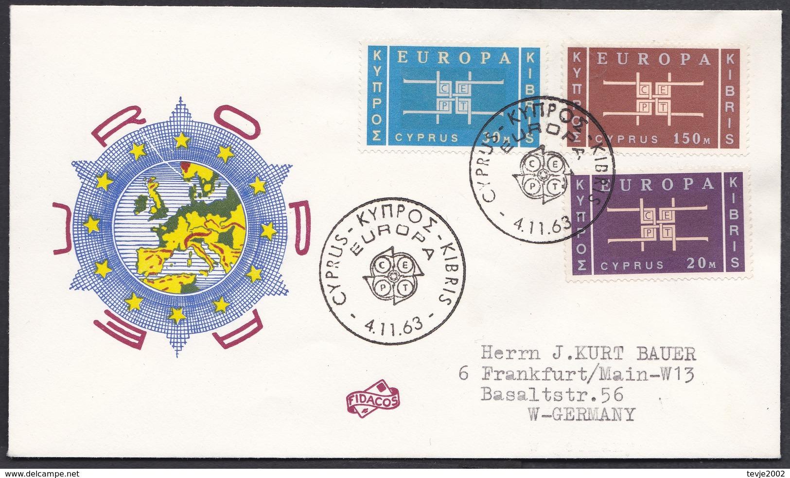 Ei_ Zypern - Mi.Nr. 225 - 227 - Ersttagsbrief FDC - Europa CEPT - Europa-CEPT