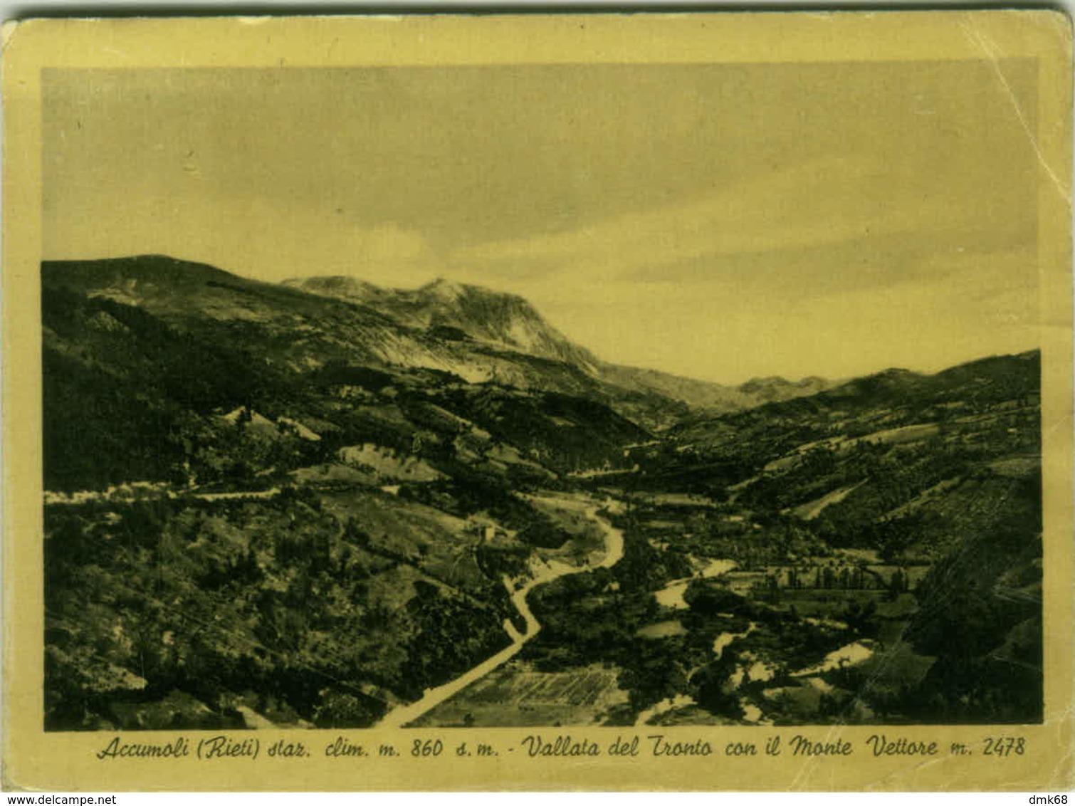 ACCUMOLI ( RIETI ) VALLATA DEL TRONTO CON IL MONTE VETTORE - EDIZ. D.PEPE - 1954  (2639) - Rieti
