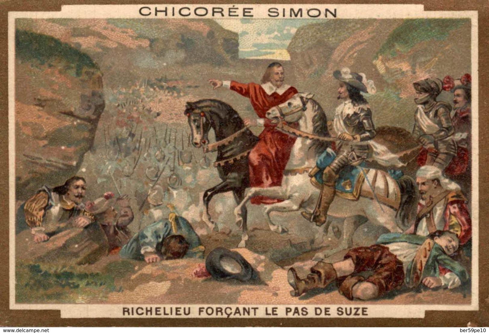 CHROMO CHICOREE SIMON EXTRA SUPERIEURE CAMBRAI  RICHELIEU FORCANT LE PAS DE SUZE - Chromos